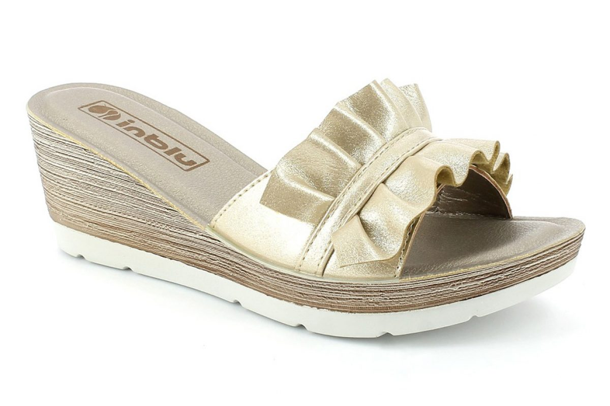 Sandalo donna zeppa alta colore platino